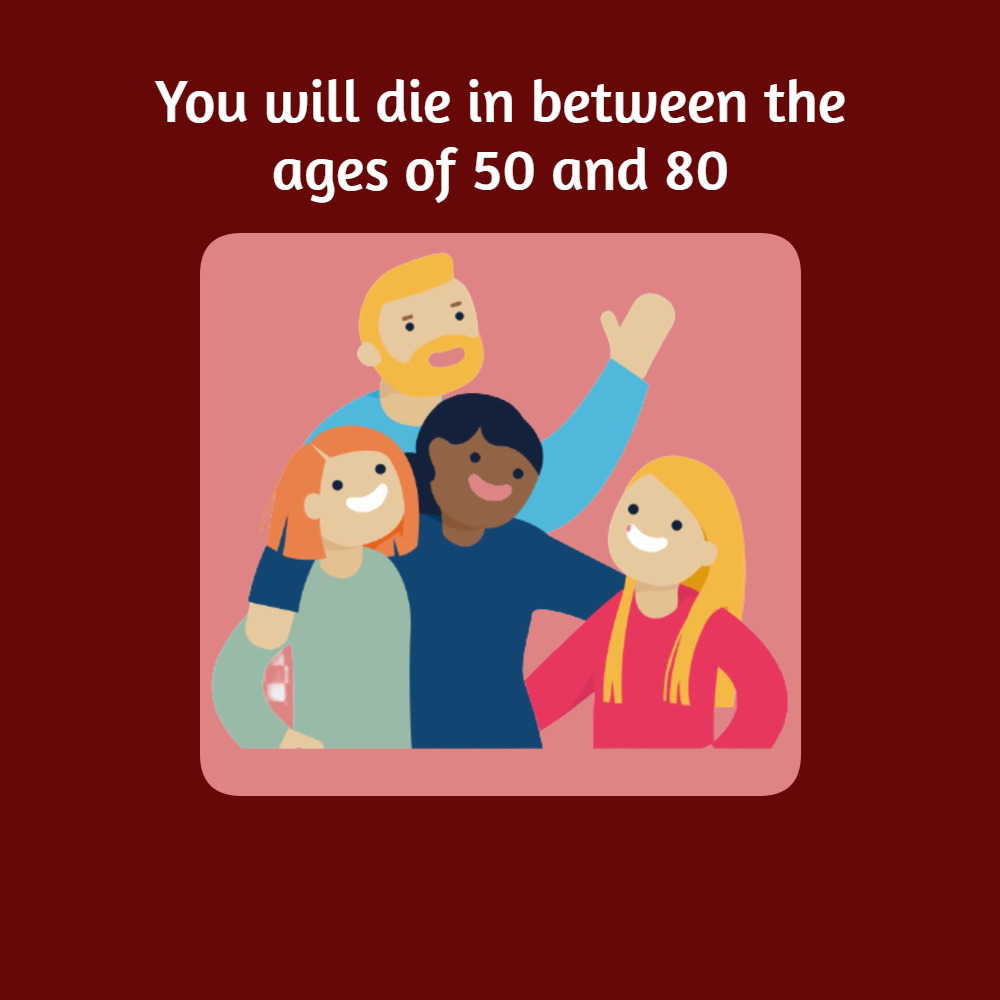You will die in between the ages of 50 and 80